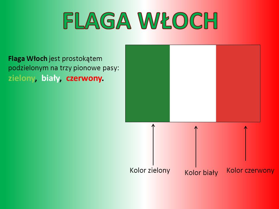 Kolor czerwony Kolor biały Kolor zielony Flaga Włoch jest prostokątem podzielonym na trzy pionowe pasy: zielony, biały, czerwony.