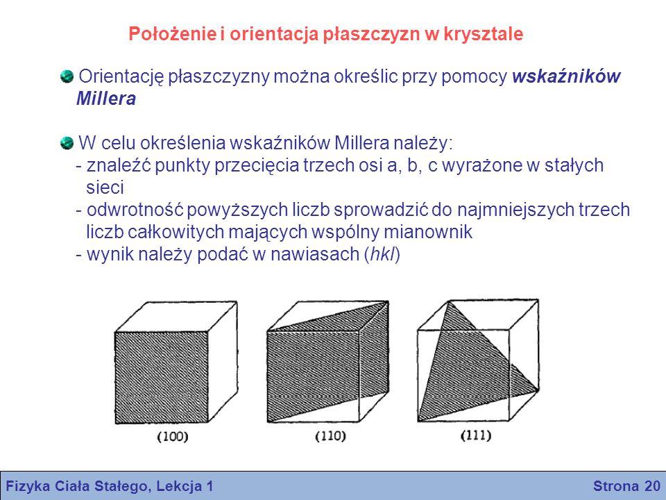 Położenie i orientacja płaszczyzn w krysztale Orientację płaszczyzny można określic przy pomocy wskaźników Millera W celu określenia wskaźników Miller