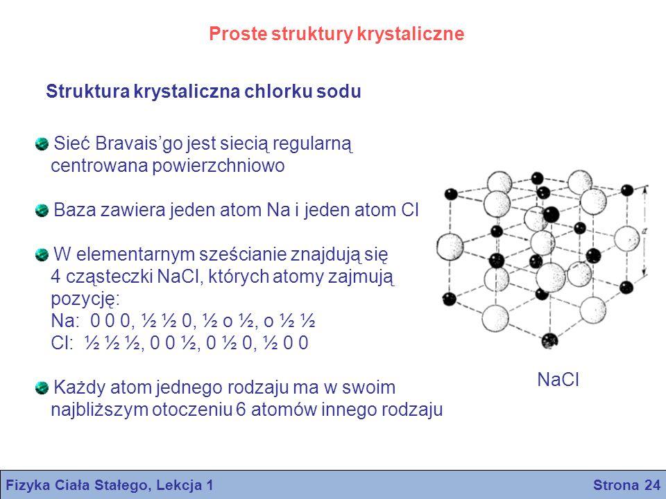 Struktura krystaliczna chlorku sodu Proste struktury krystaliczne Sieć Bravaisgo jest siecią regularną centrowana powierzchniowo Baza zawiera jeden at