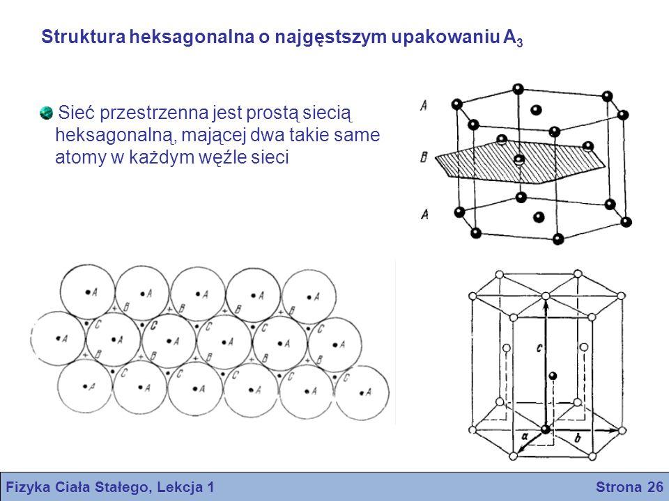 Struktura heksagonalna o najgęstszym upakowaniu A 3 Sieć przestrzenna jest prostą siecią heksagonalną, mającej dwa takie same atomy w każdym węźle sie