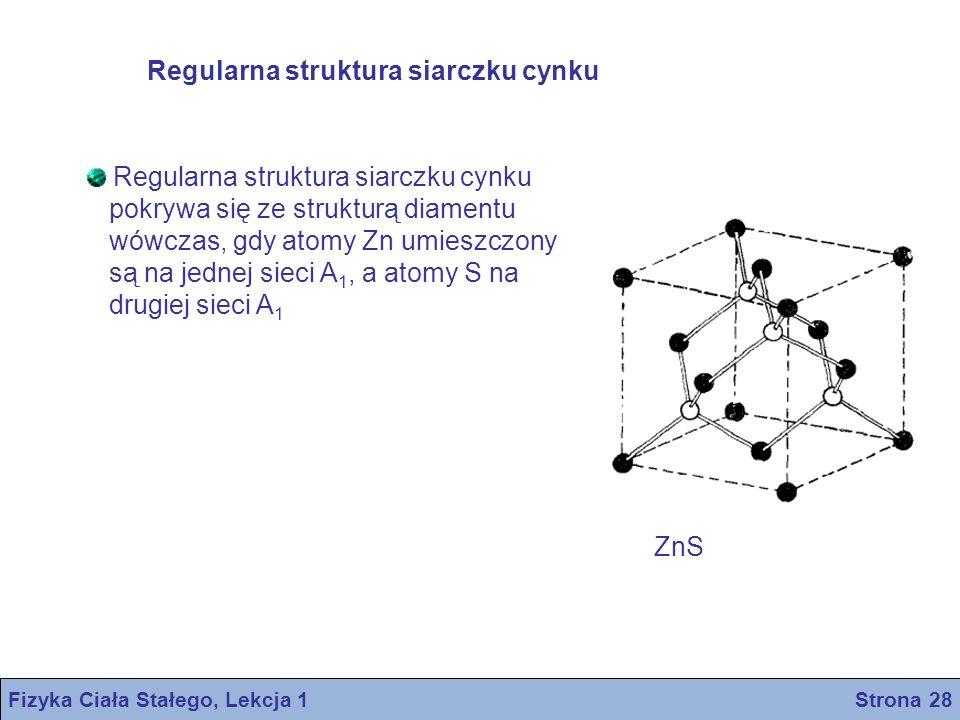 Regularna struktura siarczku cynku pokrywa się ze strukturą diamentu wówczas, gdy atomy Zn umieszczony są na jednej sieci A 1, a atomy S na drugiej si