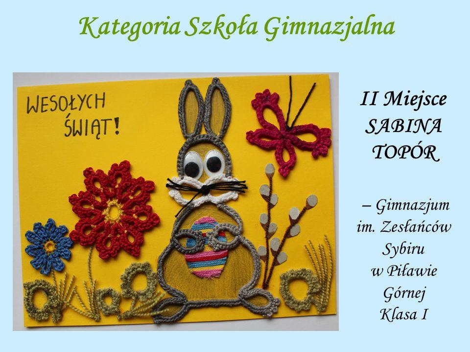 Kategoria Szkoła Gimnazjalna II Miejsce SABINA TOPÓR – Gimnazjum im. Zesłańców Sybiru w Piławie Górnej Klasa I