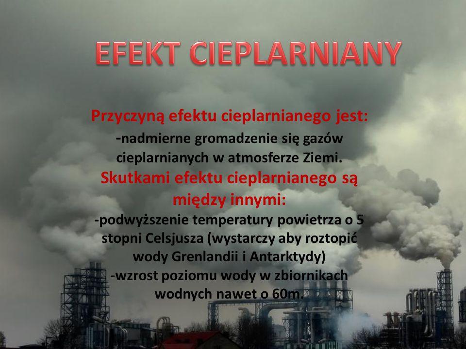 Przyczyną efektu cieplarnianego jest: - nadmierne gromadzenie się gazów cieplarnianych w atmosferze Ziemi. Skutkami efektu cieplarnianego są między in