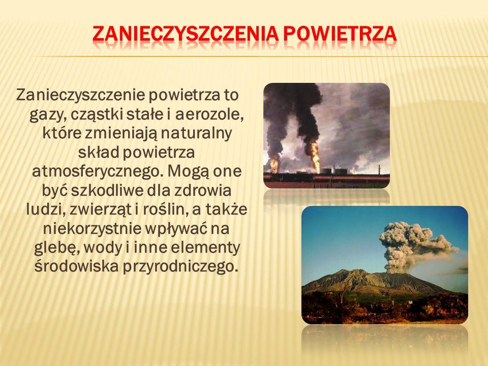 Zanieczyszczenie powietrza to gazy, cząstki stałe i aerozole, które zmieniają naturalny skład powietrza atmosferycznego.