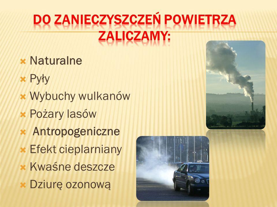 Zanieczyszczenie powietrza to gazy, cząstki stałe i aerozole, które zmieniają naturalny skład powietrza atmosferycznego. Mogą one być szkodliwe dla zd