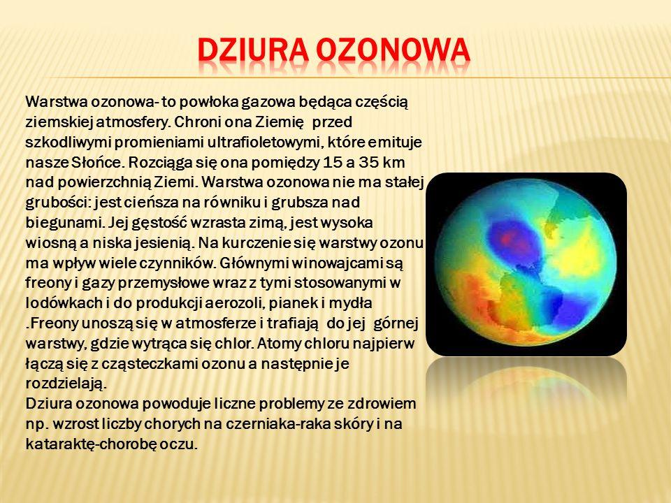 Warstwa ozonowa- to powłoka gazowa będąca częścią ziemskiej atmosfery.