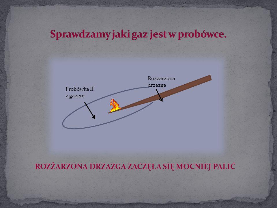 Rozżarzona drzazga Probówka II z gazem ROZŻARZONA DRZAZGA ZACZĘŁA SIĘ MOCNIEJ PALIĆ