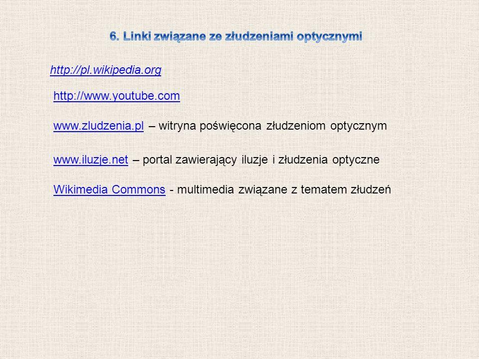 http://pl.wikipedia.org http://www.youtube.com www.zludzenia.plwww.zludzenia.pl – witryna poświęcona złudzeniom optycznym www.iluzje.netwww.iluzje.net