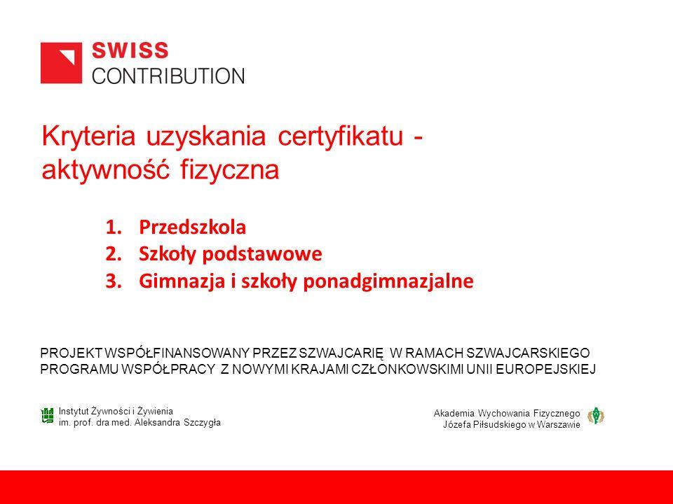 Kryteria uzyskania certyfikatu - aktywność fizyczna PROJEKT WSPÓŁFINANSOWANY PRZEZ SZWAJCARIĘ W RAMACH SZWAJCARSKIEGO PROGRAMU WSPÓŁPRACY Z NOWYMI KRAJAMI CZŁONKOWSKIMI UNII EUROPEJSKIEJ 1.Przedszkola 2.Szkoły podstawowe 3.Gimnazja i szkoły ponadgimnazjalne Instytut Żywności i Żywienia im.