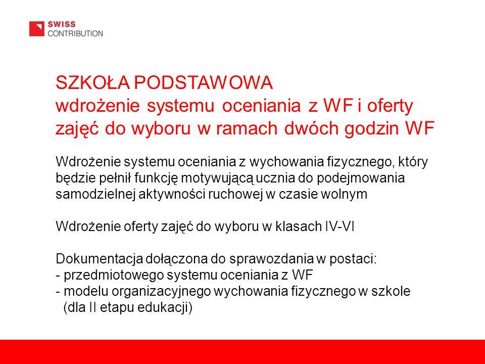 SZKOŁA PODSTAWOWA wdrożenie systemu oceniania z WF i oferty zajęć do wyboru w ramach dwóch godzin WF Wdrożenie systemu oceniania z wychowania fizycznego, który będzie pełnił funkcję motywującą ucznia do podejmowania samodzielnej aktywności ruchowej w czasie wolnym Wdrożenie oferty zajęć do wyboru w klasach IV-VI Dokumentacja dołączona do sprawozdania w postaci: - przedmiotowego systemu oceniania z WF - modelu organizacyjnego wychowania fizycznego w szkole (dla II etapu edukacji)