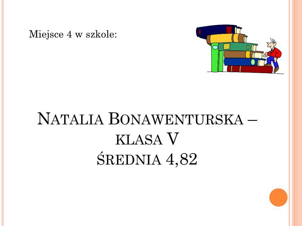 N ATALIA B ONAWENTURSKA – KLASA V ŚREDNIA 4,82 Miejsce 4 w szkole: