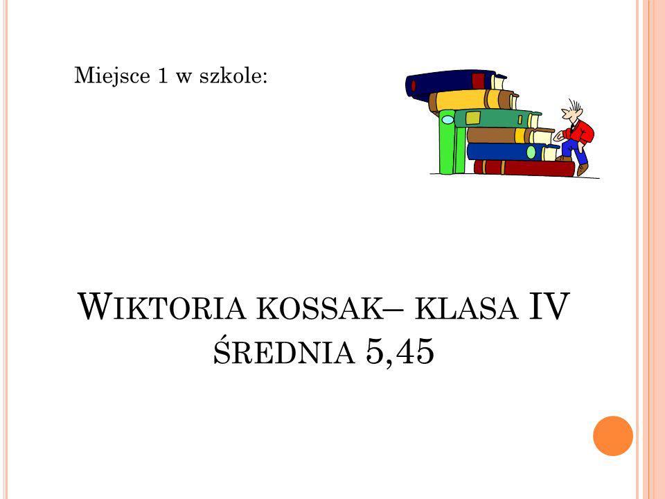 W IKTORIA KOSSAK – KLASA IV ŚREDNIA 5,45 Miejsce 1 w szkole: