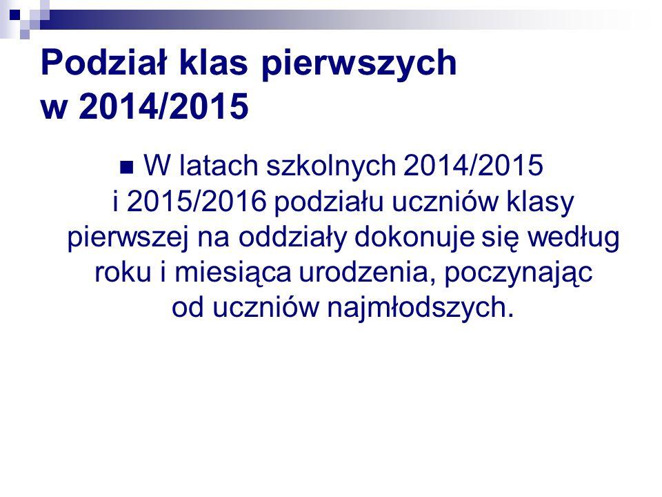 Podział klas pierwszych w 2014/2015 W latach szkolnych 2014/2015 i 2015/2016 podziału uczniów klasy pierwszej na oddziały dokonuje się według roku i miesiąca urodzenia, poczynając od uczniów najmłodszych.