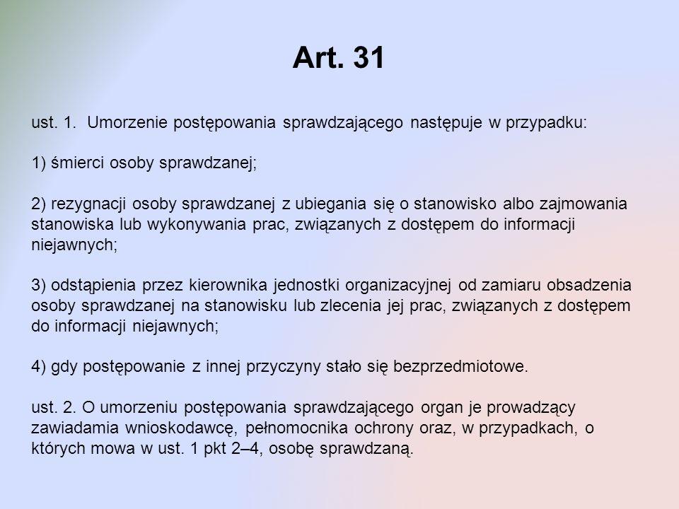 Art. 31 ust. 1. Umorzenie postępowania sprawdzającego następuje w przypadku: 1) śmierci osoby sprawdzanej; 2) rezygnacji osoby sprawdzanej z ubiegania