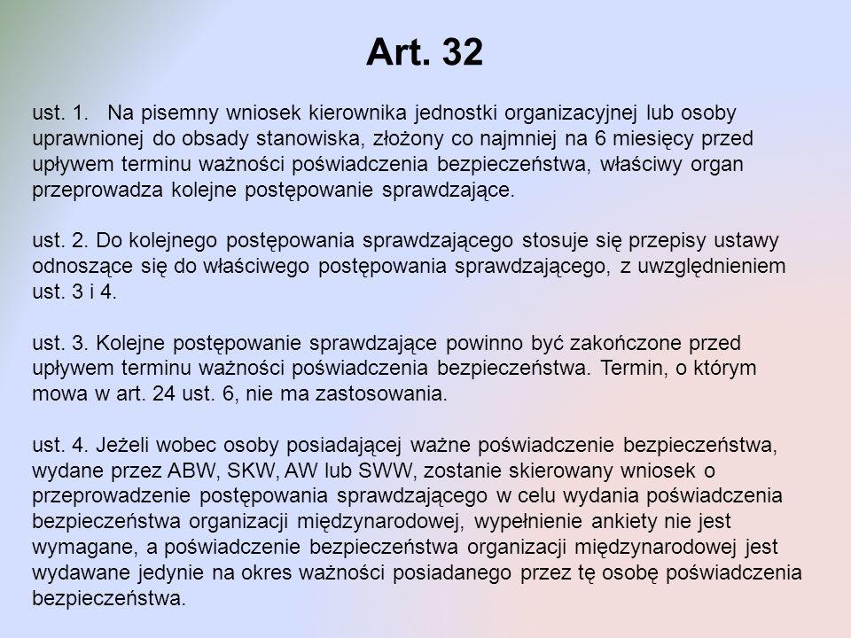 Art. 32 ust. 1. Na pisemny wniosek kierownika jednostki organizacyjnej lub osoby uprawnionej do obsady stanowiska, złożony co najmniej na 6 miesięcy p