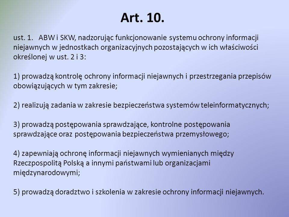 Art. 10. ust. 1. ABW i SKW, nadzorując funkcjonowanie systemu ochrony informacji niejawnych w jednostkach organizacyjnych pozostających w ich właściwo