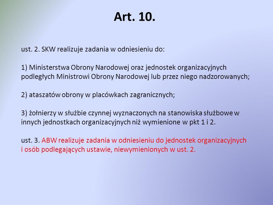 Art. 10. ust. 2. SKW realizuje zadania w odniesieniu do: 1) Ministerstwa Obrony Narodowej oraz jednostek organizacyjnych podległych Ministrowi Obrony