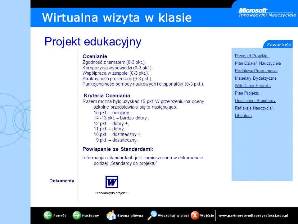 Przegląd Projektu Plan Działań Nauczyciela Podstawa Programowa Materiały Dydaktyczne Wdrażanie Projektu Plan Projektu Ocenianie i Standardy Refleksje