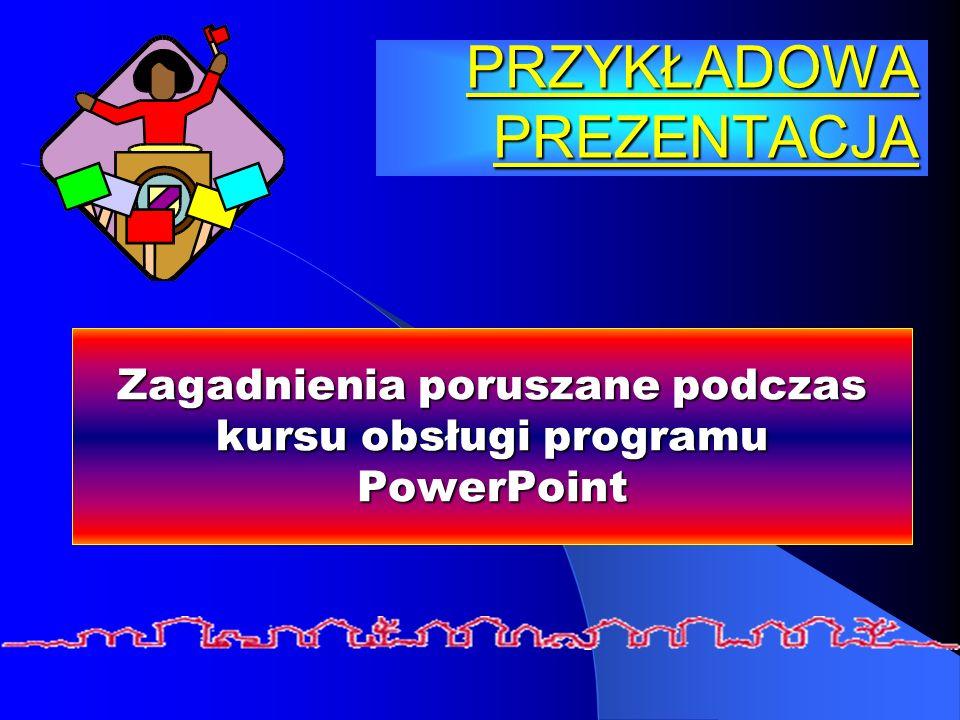 PRZYKŁADOWA PREZENTACJA Zagadnienia poruszane podczas kursu obsługi programu PowerPoint
