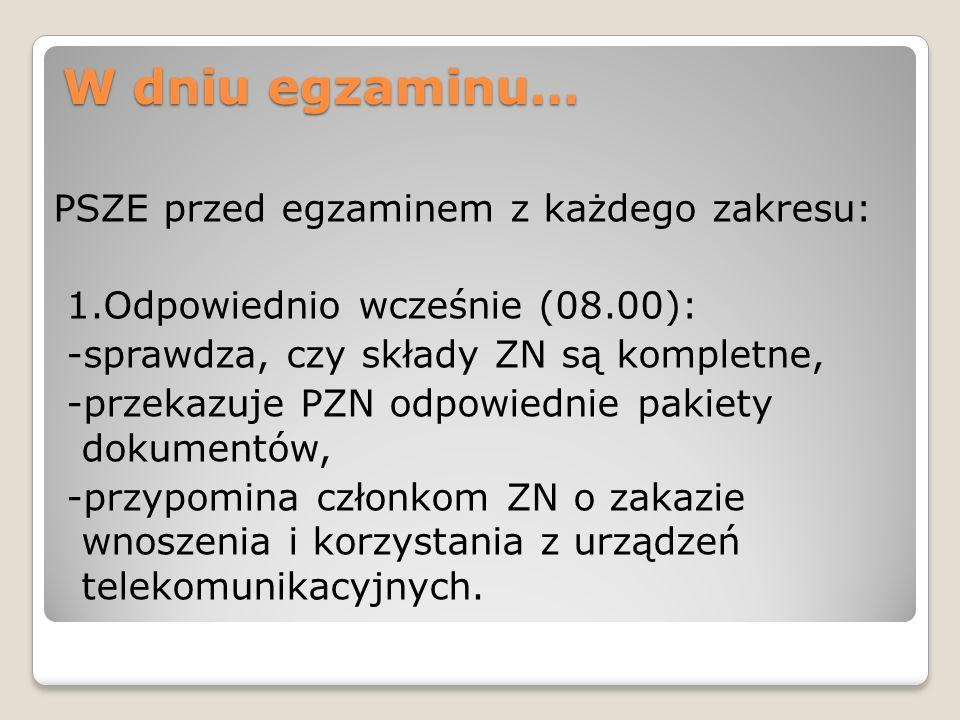 W dniu egzaminu… PSZE przed egzaminem z każdego zakresu: 1.Odpowiednio wcześnie (08.00): -sprawdza, czy składy ZN są kompletne, -przekazuje PZN odpowi