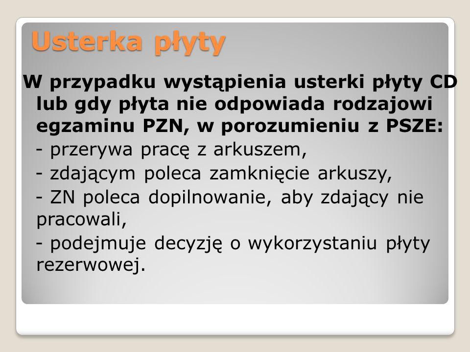 Usterka płyty W przypadku wystąpienia usterki płyty CD lub gdy płyta nie odpowiada rodzajowi egzaminu PZN, w porozumieniu z PSZE: - przerywa pracę z a