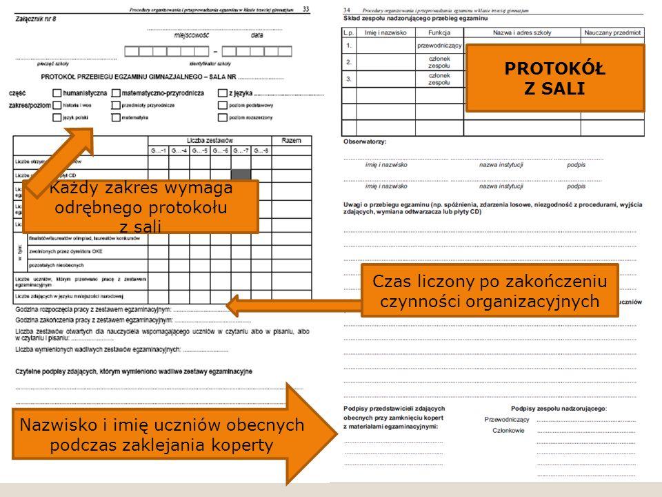 Nazwisko i imię uczniów obecnych podczas zaklejania koperty Czas liczony po zakończeniu czynności organizacyjnych Każdy zakres wymaga odrębnego protok