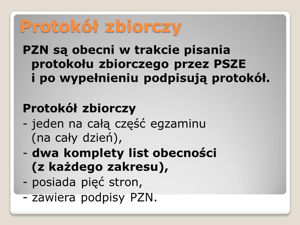 Protokół zbiorczy PZN są obecni w trakcie pisania protokołu zbiorczego przez PSZE i po wypełnieniu podpisują protokół. Protokół zbiorczy - jeden na ca