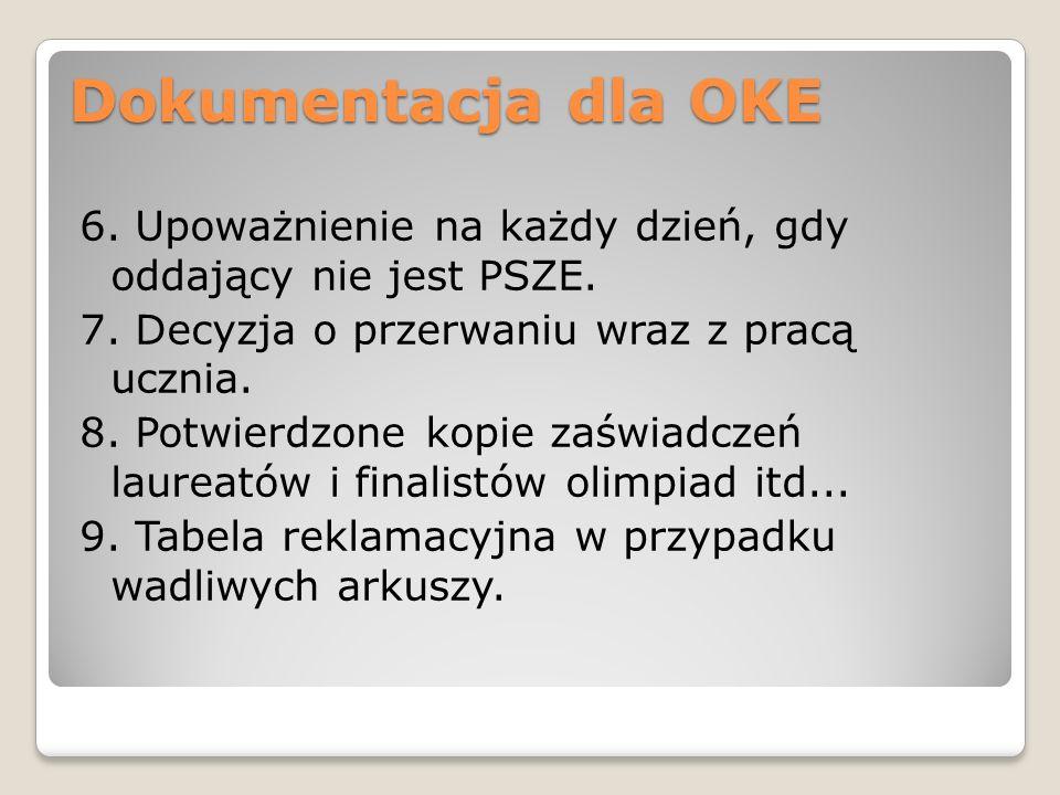 Dokumentacja dla OKE 6. Upoważnienie na każdy dzień, gdy oddający nie jest PSZE. 7. Decyzja o przerwaniu wraz z pracą ucznia. 8. Potwierdzone kopie za
