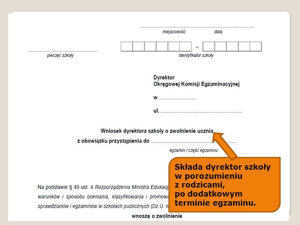 Składa dyrektor szkoły w porozumieniu z rodzicami, po dodatkowym terminie egzaminu.