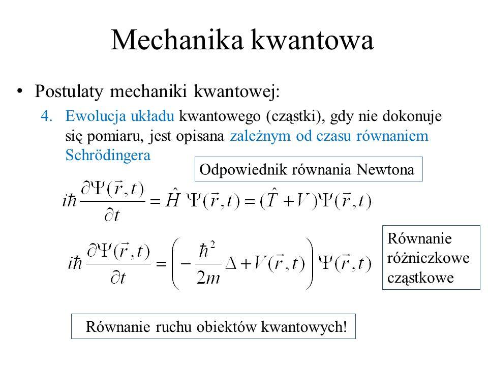 Mechanika kwantowa Postulaty mechaniki kwantowej: 4.Ewolucja układu kwantowego (cząstki), gdy nie dokonuje się pomiaru, jest opisana zależnym od czasu