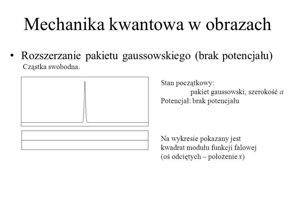 Mechanika kwantowa w obrazach Rozszerzanie pakietu gaussowskiego (brak potencjału) Cząstka swobodna. Stan początkowy: pakiet gaussowski, szerokość a P