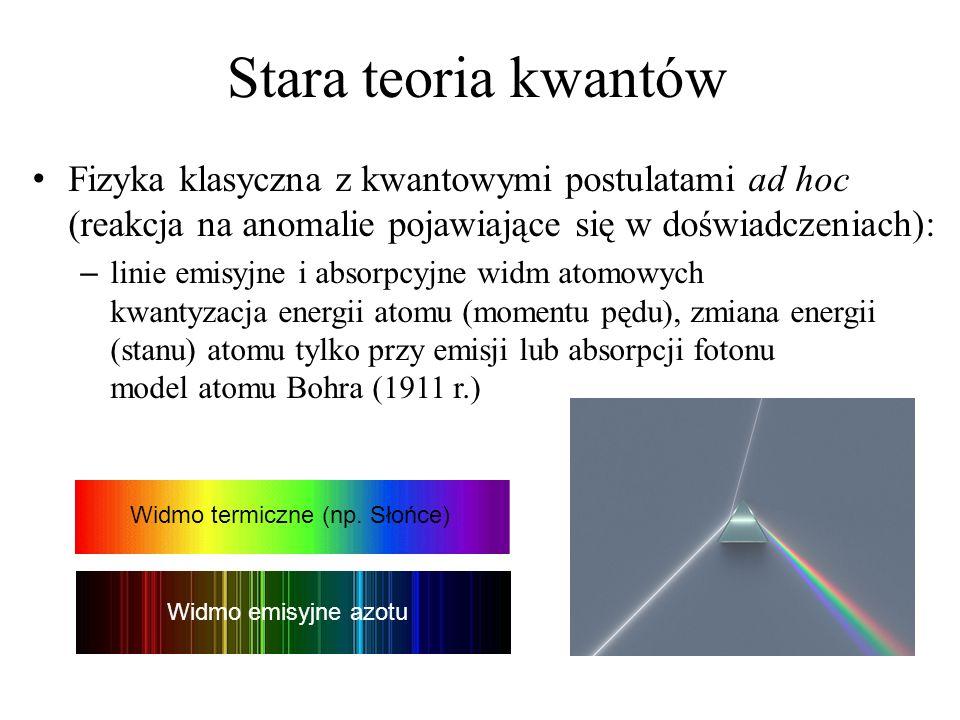 Stara teoria kwantów Fizyka klasyczna z kwantowymi postulatami ad hoc (reakcja na anomalie pojawiające się w doświadczeniach): – linie emisyjne i abso