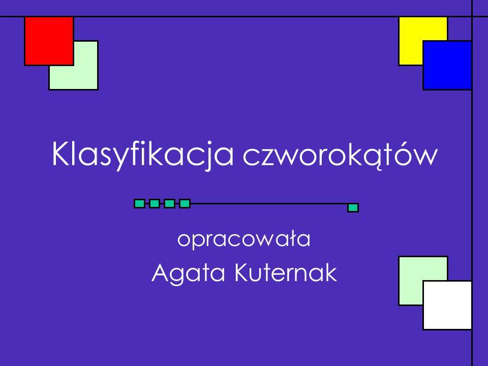 Klasyfikacja czworokątów opracowała Agata Kuternak