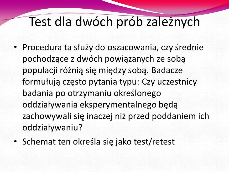 Test dla dwóch prób zależnych Procedura ta służy do oszacowania, czy średnie pochodzące z dwóch powiązanych ze sobą populacji różnią się między sobą.