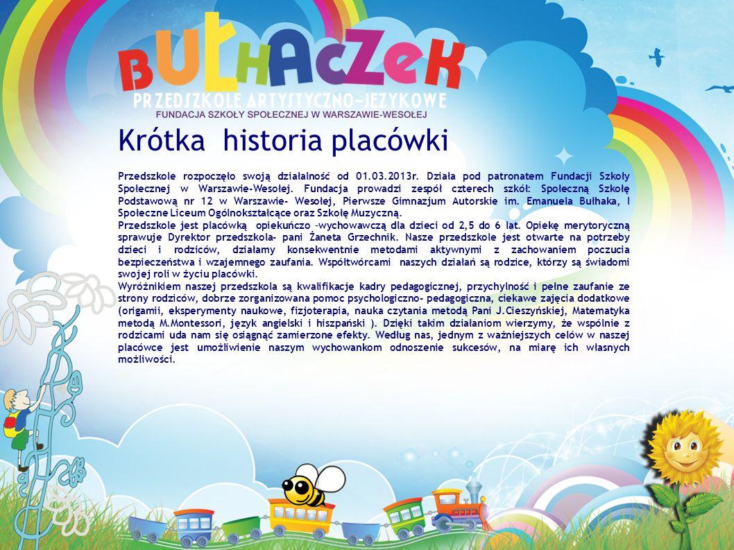Krótka historia placówki Przedszkole rozpoczęło swoją działalność od 01.03.2013r.