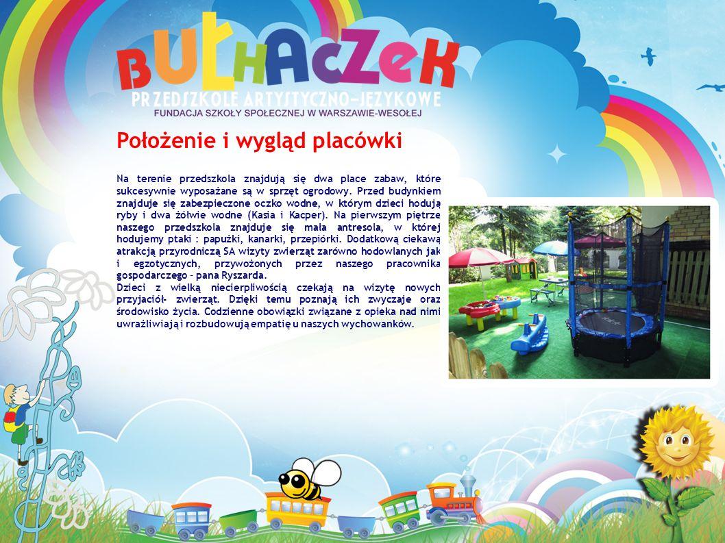 Położenie i wygląd placówki Na terenie przedszkola znajdują się dwa place zabaw, które sukcesywnie wyposażane są w sprzęt ogrodowy.