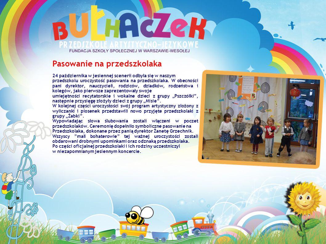 Pasowanie na przedszkolaka 24 października w jesiennej scenerii odbyła się w naszym przedszkolu uroczystość pasowania na przedszkolaka.