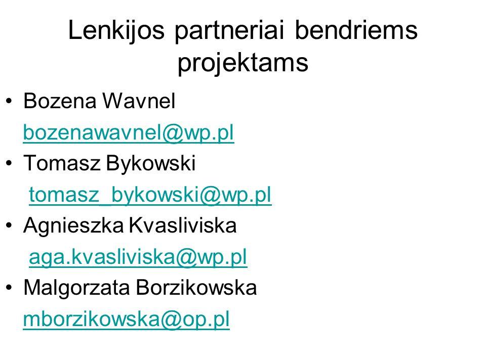 Lenkijos partneriai bendriems projektams Bozena Wavnel bozenawavnel@wp.pl Tomasz Bykowski tomasz_bykowski@wp.pl Agnieszka Kvasliviska aga.kvasliviska@wp.pl Malgorzata Borzikowska mborzikowska@op.pl