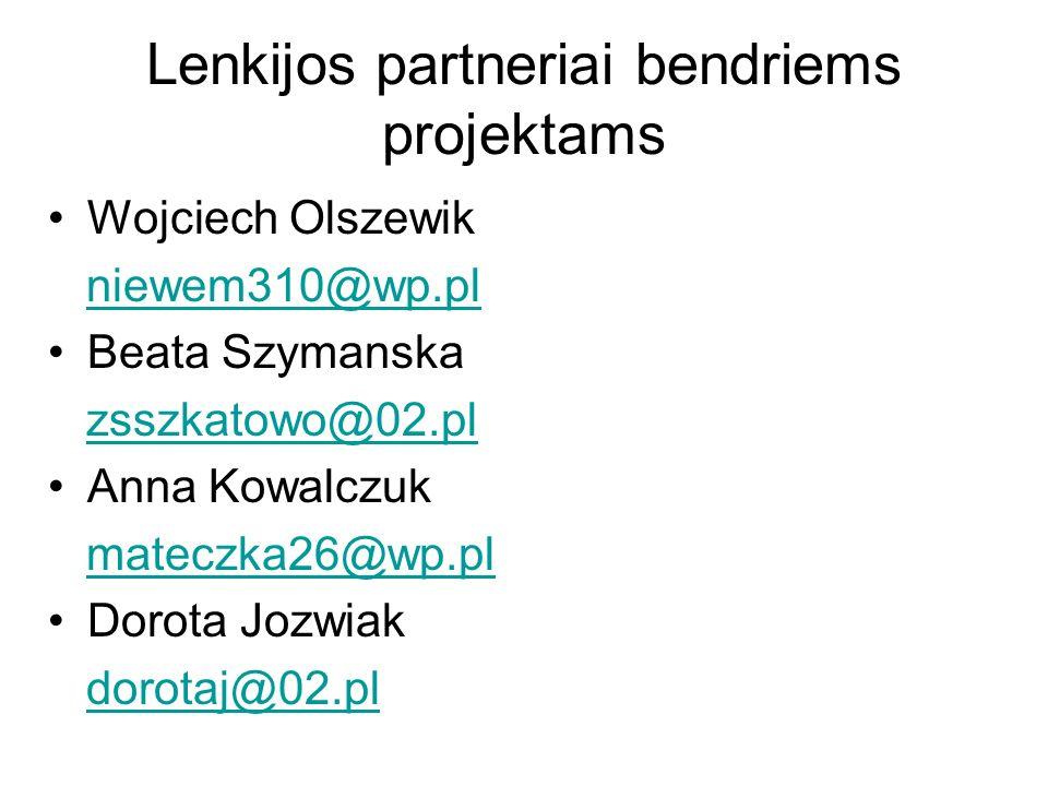 Lenkijos partneriai bendriems projektams Wojciech Olszewik niewem310@wp.pl Beata Szymanska zsszkatowo@02.pl Anna Kowalczuk mateczka26@wp.pl Dorota Jozwiak dorotaj@02.pl