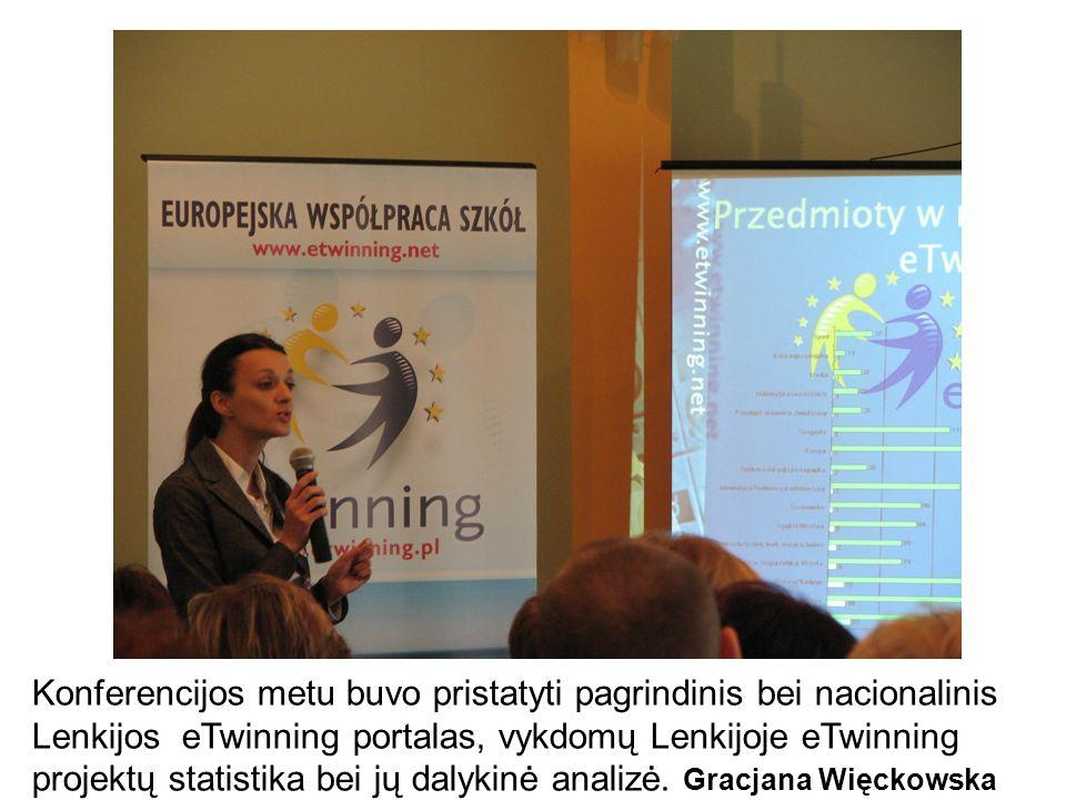 Konferencijos metu buvo pristatyti pagrindinis bei nacionalinis Lenkijos eTwinning portalas, vykdomų Lenkijoje eTwinning projektų statistika bei jų dalykinė analizė.