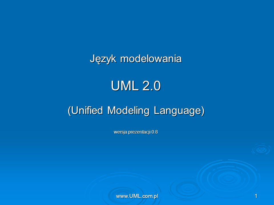 www.UML.com.pl1 Język modelowania UML 2.0 (Unified Modeling Language) wersja prezentacji 0.8