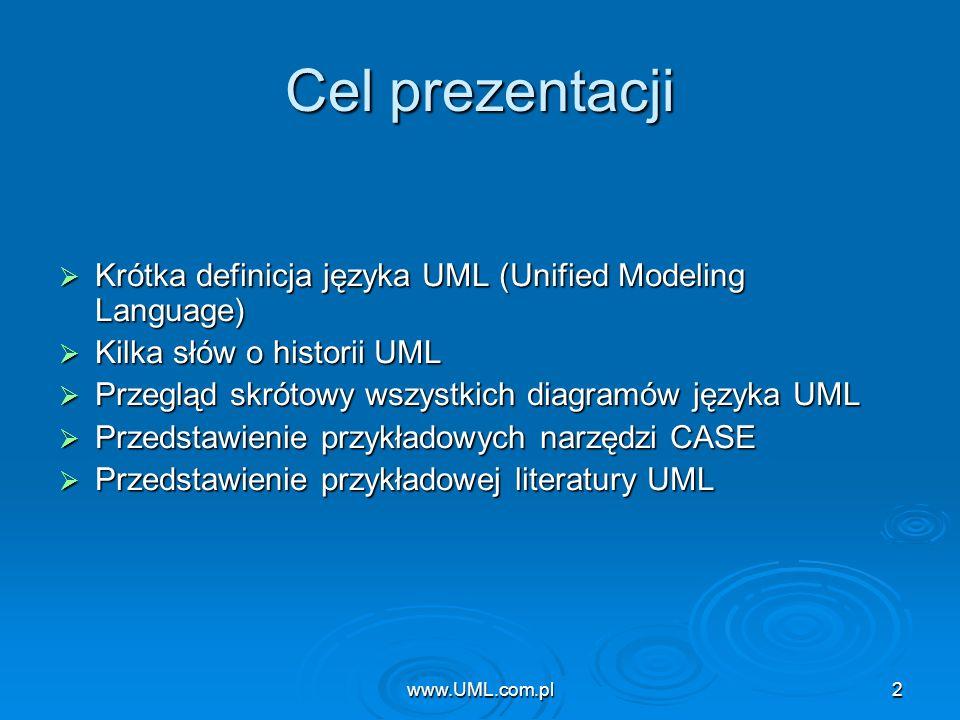 www.UML.com.pl2 Cel prezentacji Krótka definicja języka UML (Unified Modeling Language) Krótka definicja języka UML (Unified Modeling Language) Kilka