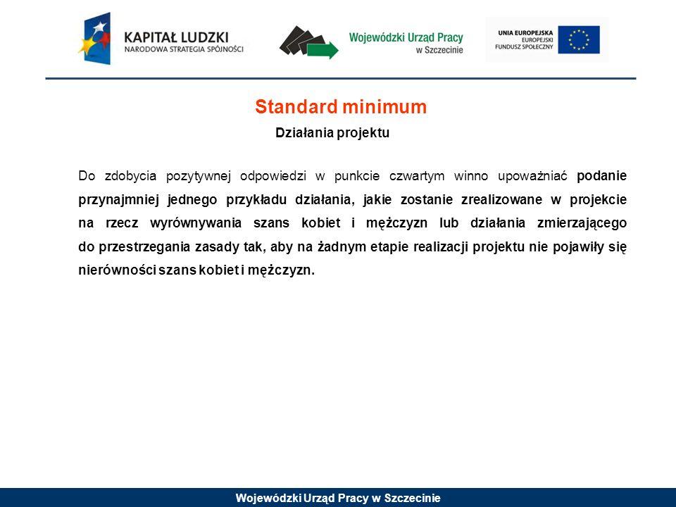 Wojewódzki Urząd Pracy w Szczecinie Standard minimum Działania projektu Do zdobycia pozytywnej odpowiedzi w punkcie czwartym winno upoważniać podanie