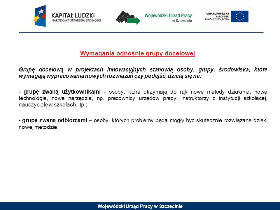 Wojewódzki Urząd Pracy w Szczecinie Wymagania odnośnie grupy docelowej Projekty muszą być skierowane bezpośrednio do grup odbiorców, wpisujących się w zakres i cele Priorytetu VII Promocja integracji społecznej, w ramach którego są wdrażane.
