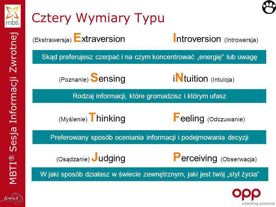 MBTI ® Sesja Informacji Zwrotnej Cztery Wymiary Typu (Ekstrawersja) E xtraversion XXI ntroversion (Introwersja) (Poznanie) S ensing XX i N tuition (In
