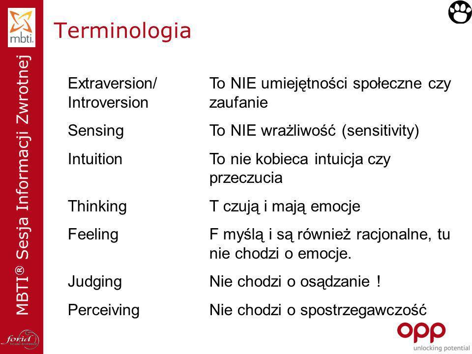 MBTI ® Sesja Informacji Zwrotnej Terminologia Extraversion/To NIE umiejętności społeczne czy Introversionzaufanie SensingTo NIE wrażliwość (sensitivit
