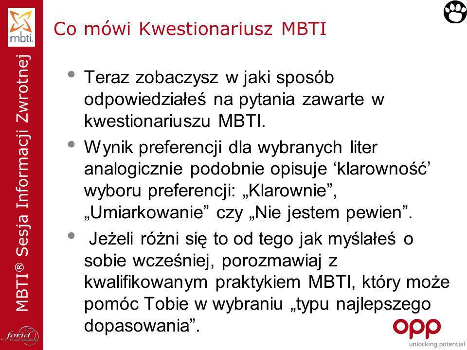 MBTI ® Sesja Informacji Zwrotnej Co mówi Kwestionariusz MBTI Teraz zobaczysz w jaki sposób odpowiedziałeś na pytania zawarte w kwestionariuszu MBTI. W
