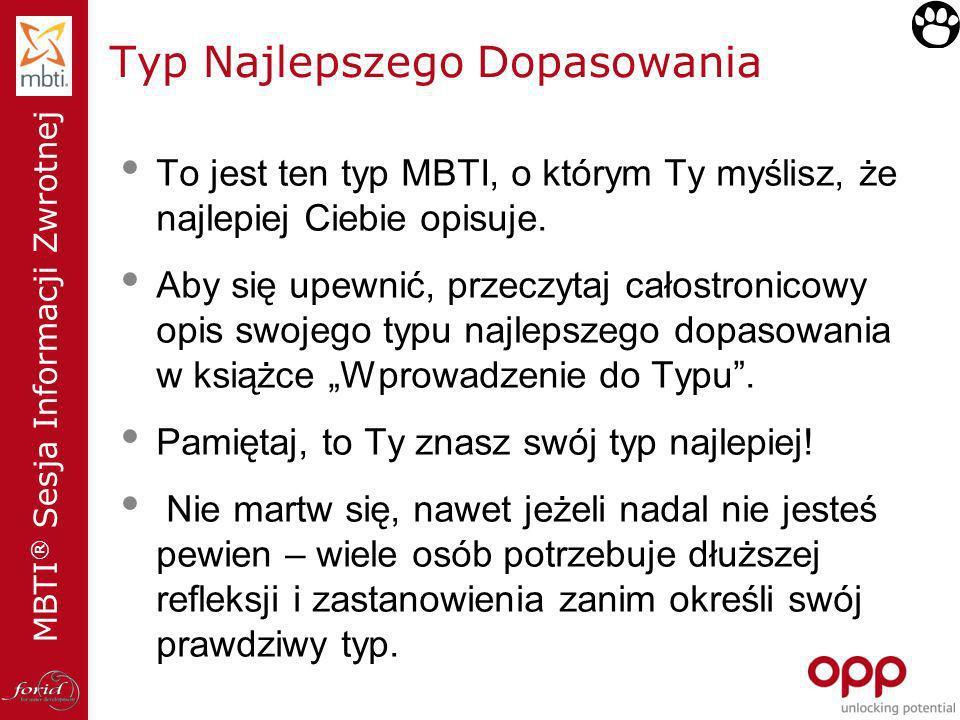 MBTI ® Sesja Informacji Zwrotnej Typ Najlepszego Dopasowania To jest ten typ MBTI, o którym Ty myślisz, że najlepiej Ciebie opisuje. Aby się upewnić,