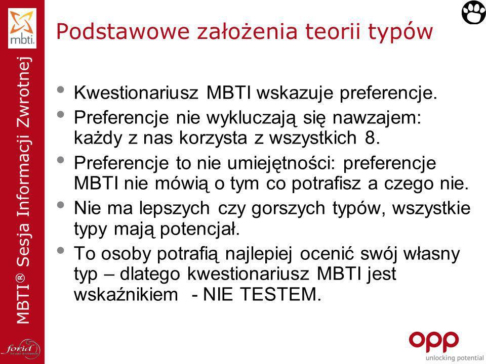 MBTI ® Sesja Informacji Zwrotnej Podstawowe założenia teorii typów Kwestionariusz MBTI wskazuje preferencje. Preferencje nie wykluczają się nawzajem: