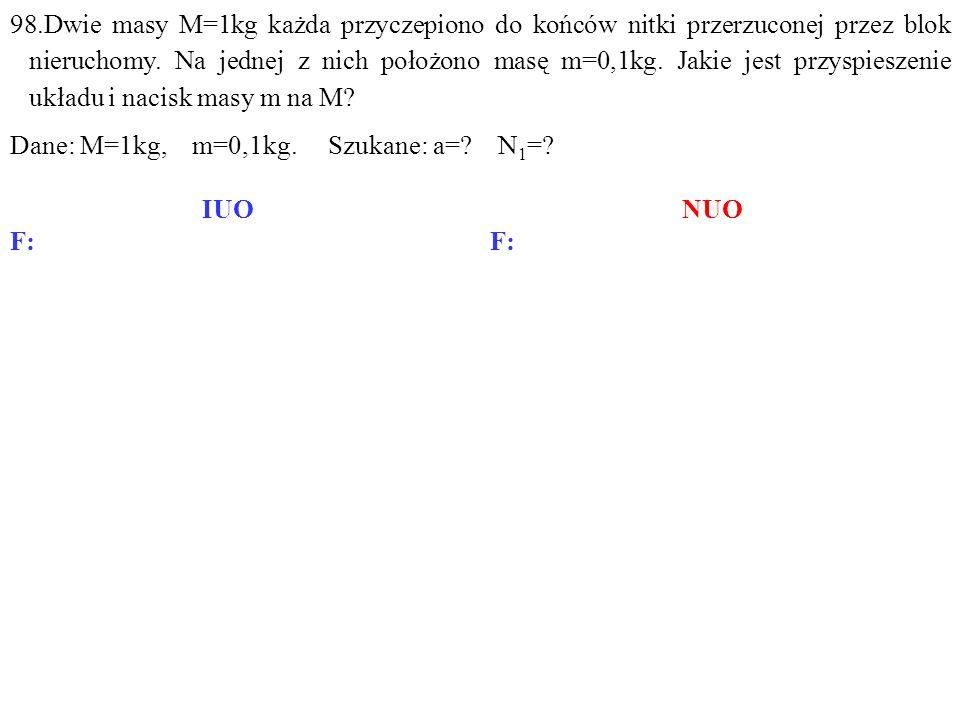 N1N1 M M N -N Q1Q1 Q Q -N 1 F b1 N1N1 M M N -N -N 1 Q1Q1 FbFb Q Q F b2 N=Q+F b1, Q+N 1 =N+F b2, Q 1 =N 1 +F b, gdzie: 98.Dwie masy M=1kg każda przyczepiono do końców nitki przerzuconej przez blok nieruchomy.